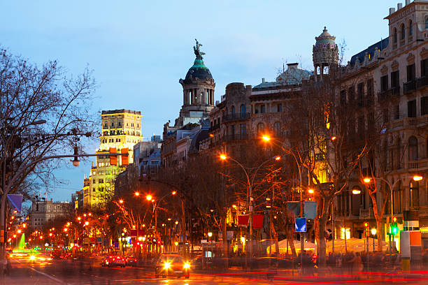 Evening view of Passeig de Gracia in Barcelona Evening view of Passeig de Gracia in winter. Barcelona, Catalonia passeig de gracia stock pictures, royalty-free photos & images