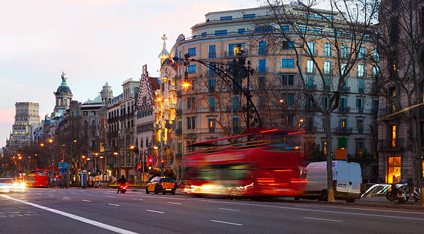 Evening view of Passeig de Gracia in  Barcelona, Spain Evening view of Passeig de Gracia in winter time. Barcelona, Spain gracia baur stock pictures, royalty-free photos & images