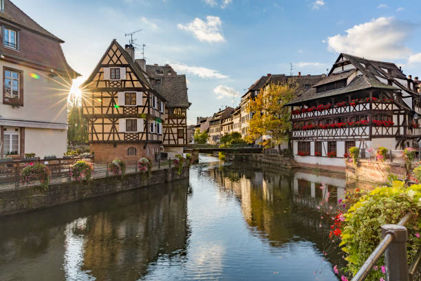 Evening view of Petite France - a historic quarter of the city of Strasbourg Evening view of Petite France - a historic quarter of the city of Strasbourg in eastern France strasbourg stock pictures, royalty-free photos & images