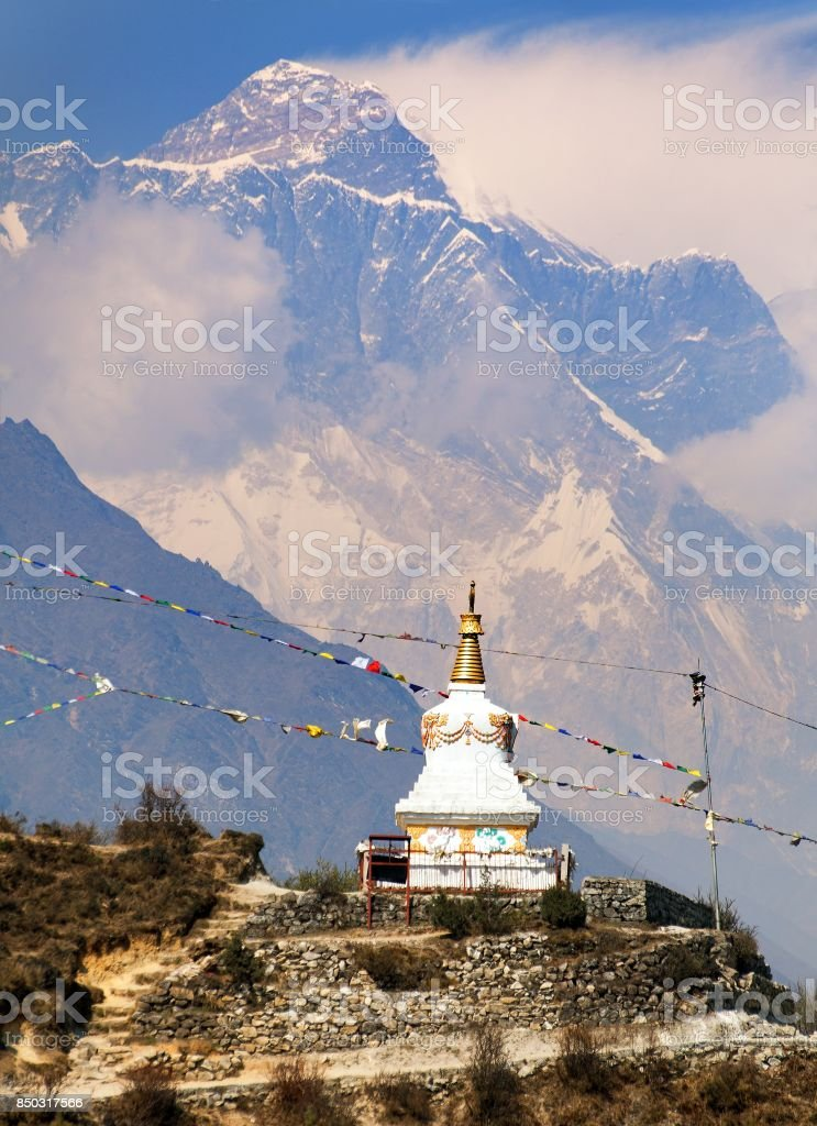 Evening view of stupa near Namche Bazar and Mount Everest stock photo