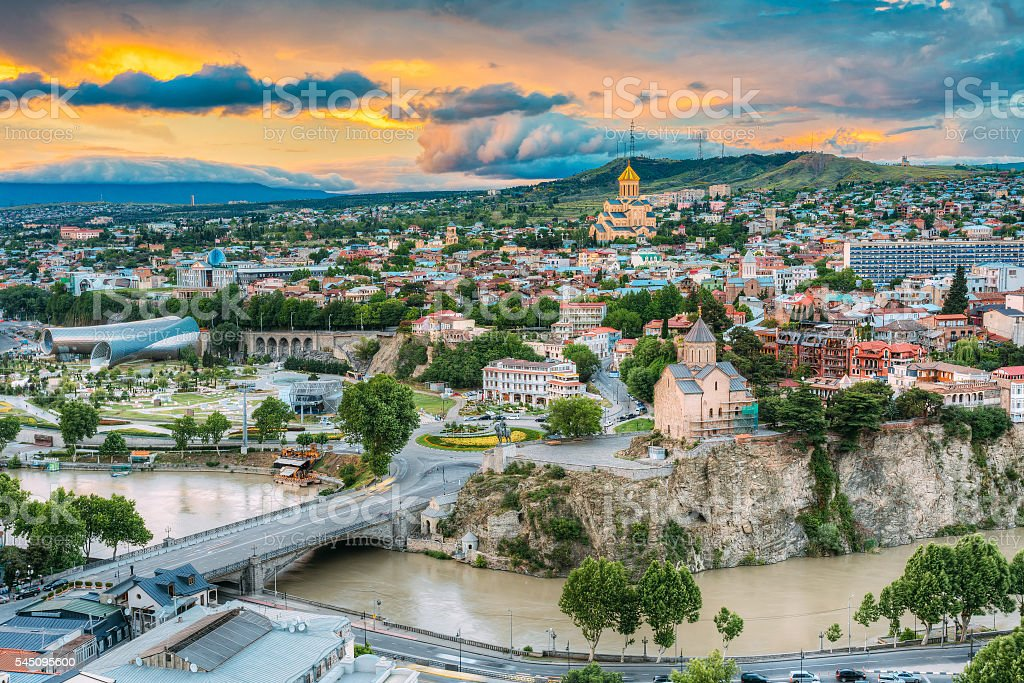 Evening View Of Tbilisi At Colorful Sunset. Georgia. Summer City stock photo