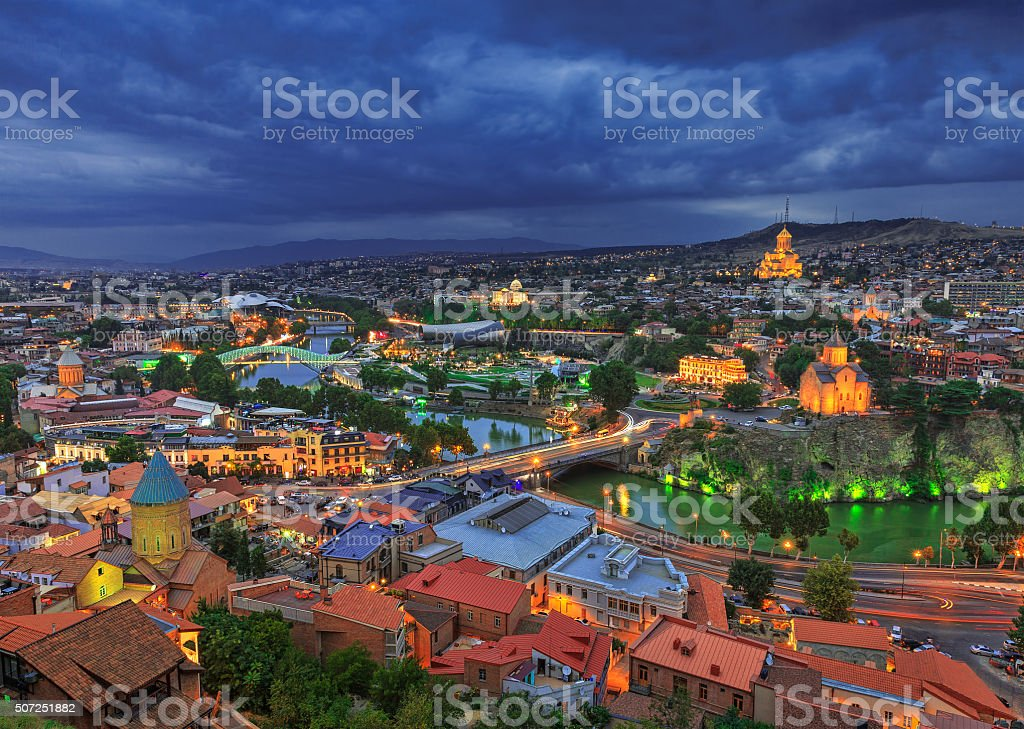 Evening view of Tbilisi from Narikala Fortress, Georgia country stock photo