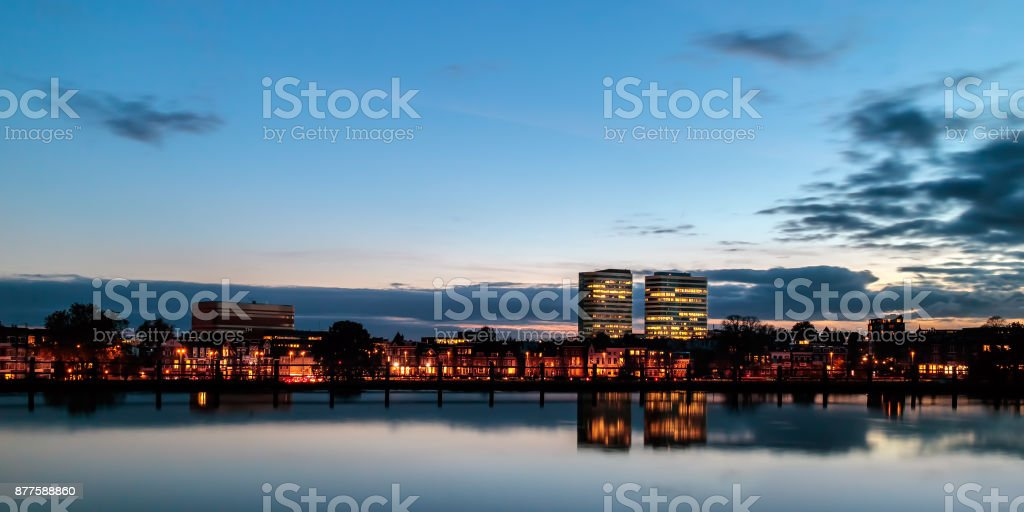 Evening view of the central railway station area with offices in the Dutch city of Arnhem stock photo
