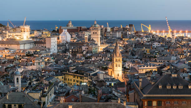 Evening view of the downtown of Genoa stock photo