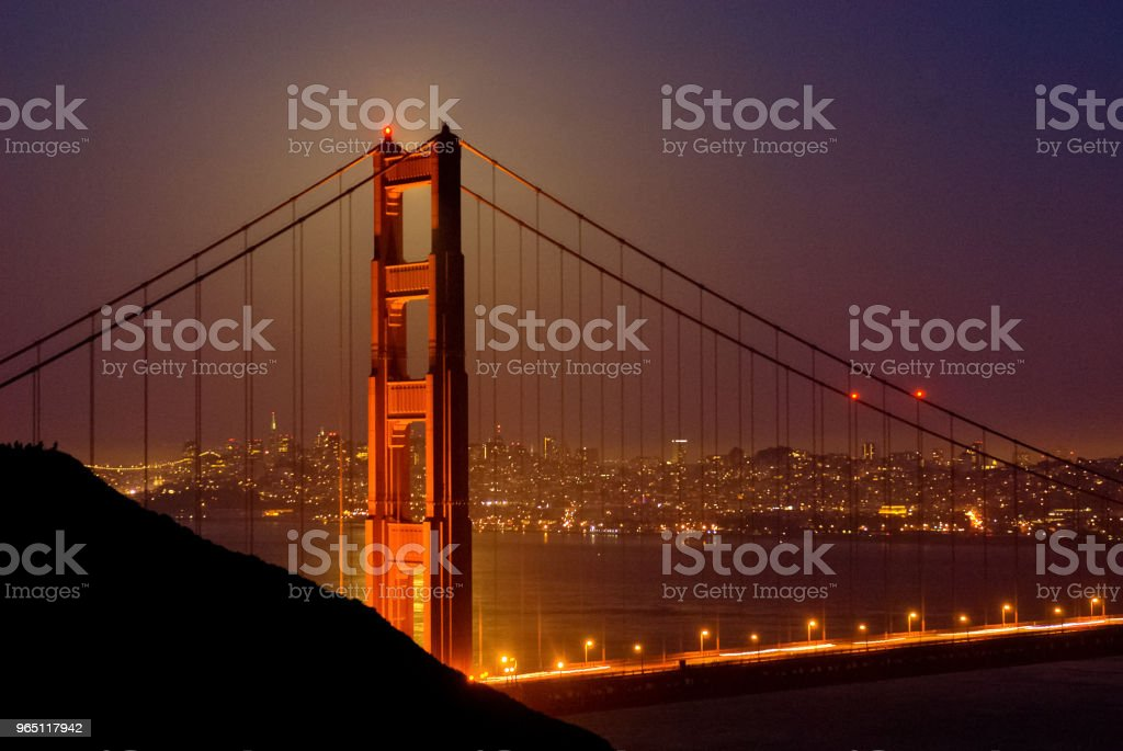 Evening view of the Golden Gate Bridge royalty-free stock photo