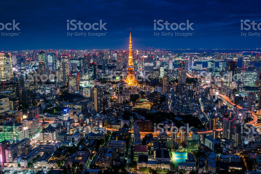 Amazing aerial view of the Tokyo City skyline with illuminated Tokyo...