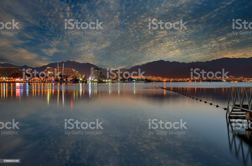 Evening view  on Aqaba,Eilat and Red sea, Israel stock photo