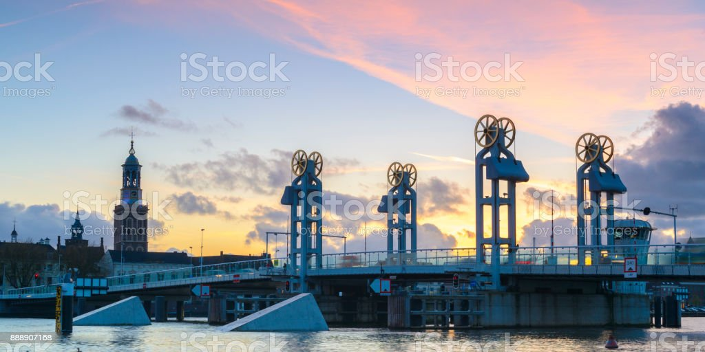 Evening view on the city bridge and skyline in Kampen, The Netherlands stock photo