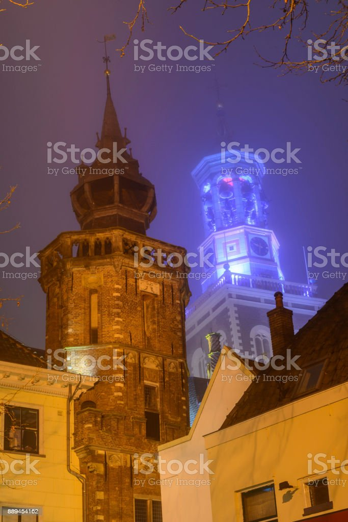 Evening view on the New Tower in Kampen in Overijssel, The Netherlands stock photo