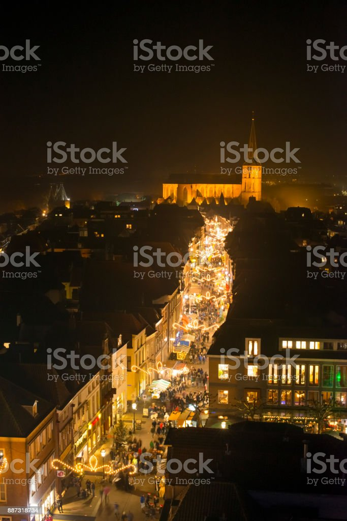 Evening view on the shopping street of Kampen in Overijssel, The Netherlands stock photo