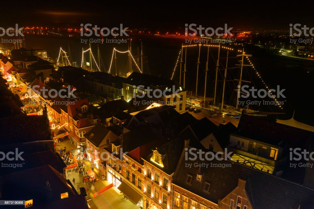 Evening view on the shopping street of Kampen with the river IJssel in the background stock photo