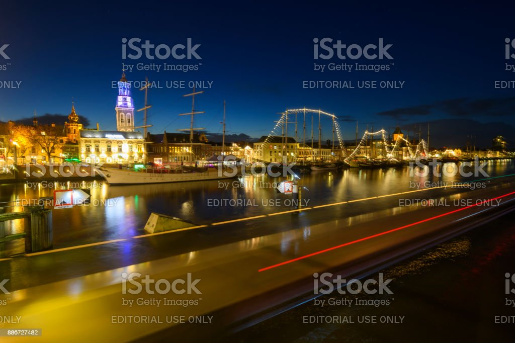 Evening view on the skyline of Kampen in Overijssel, The Netherlands stock photo