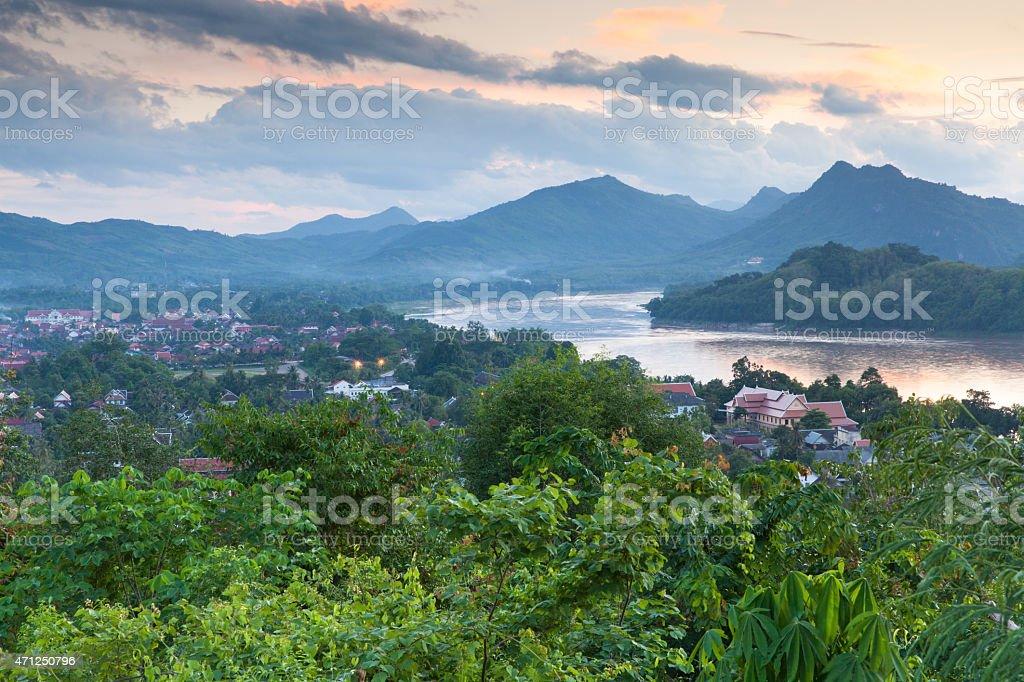 Evening view over Luang Prabang, Laos stock photo