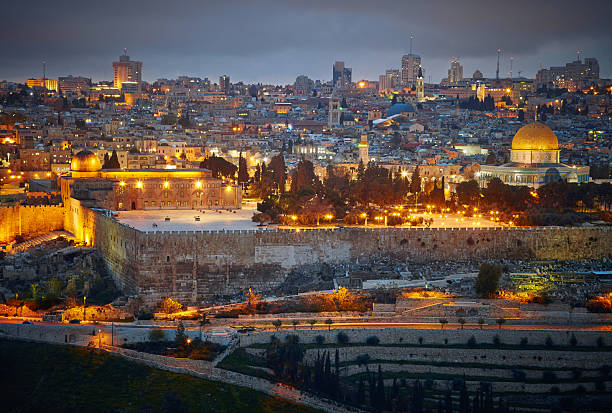 Evening view to Jerusalem old city. Israel - foto de stock