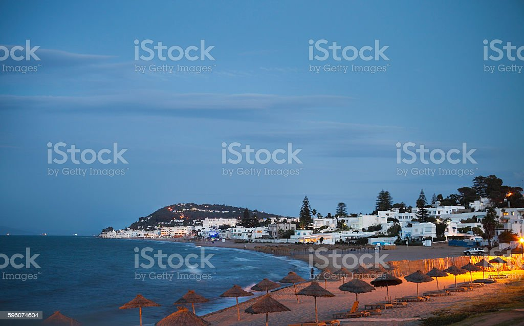 Evening view to the beach in Gammarth Tunis stock photo