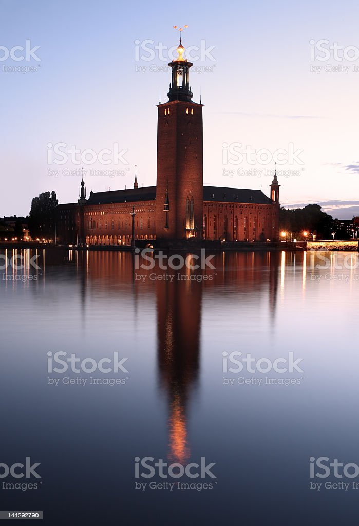 Evening water view of the city hall in Stockholm  royalty-free stock photo
