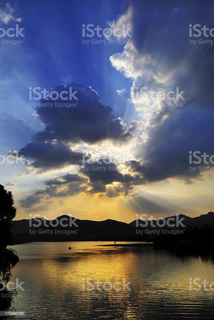 evening West Lake in Hangzhou,Tyndall effect royalty-free stock photo