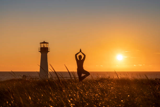Evening Yoga stock photo