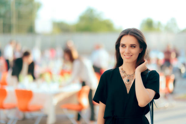 Event Planner PR Specialist Woman Organizing Outdoor Party stock photo