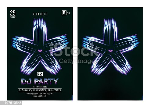 1197513976istockphoto Event poster template with colorful abstract star shape background 1197513348