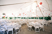 Event Tables at a formal social gathering such as a wedding or birthday part or celebration of some sort.
