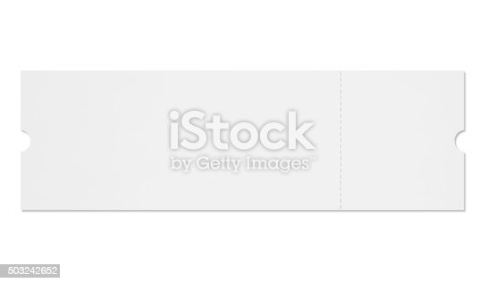 Blank event ticket with removable coupon isolated on white (excluding the shadow)