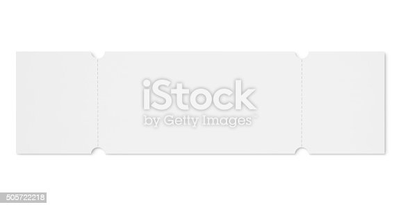 Blank event ticket with removable coupons isolated on white (excluding the shadow)