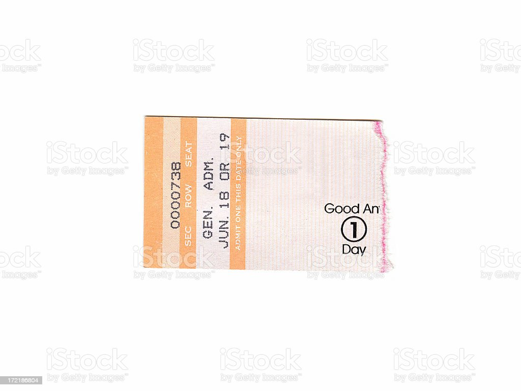 Event Ticket Stub stock photo