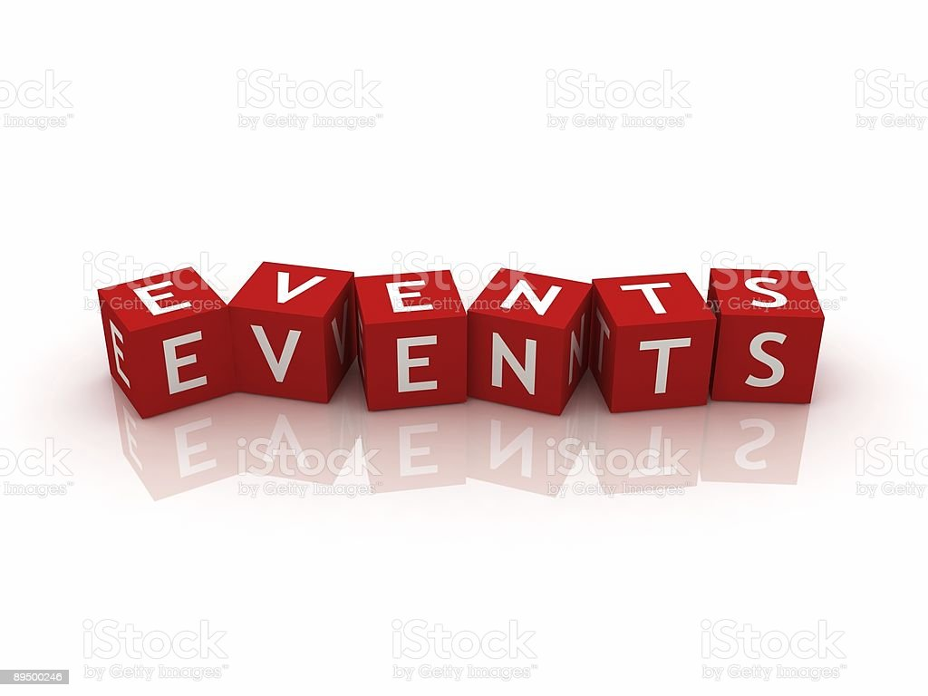 Events written on red blocks royalty-free stock photo