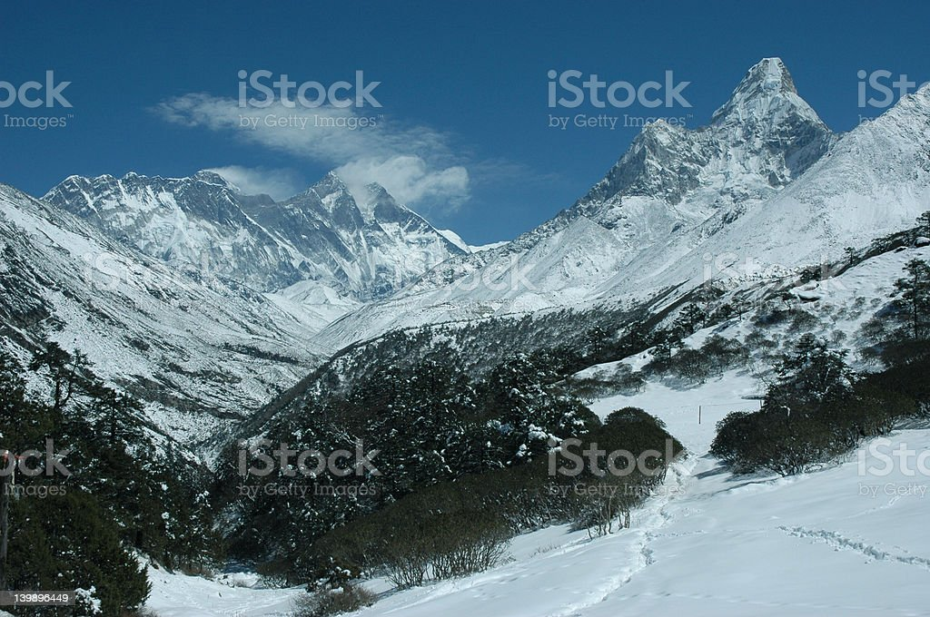 Everest and Ama dablam mount royalty-free stock photo