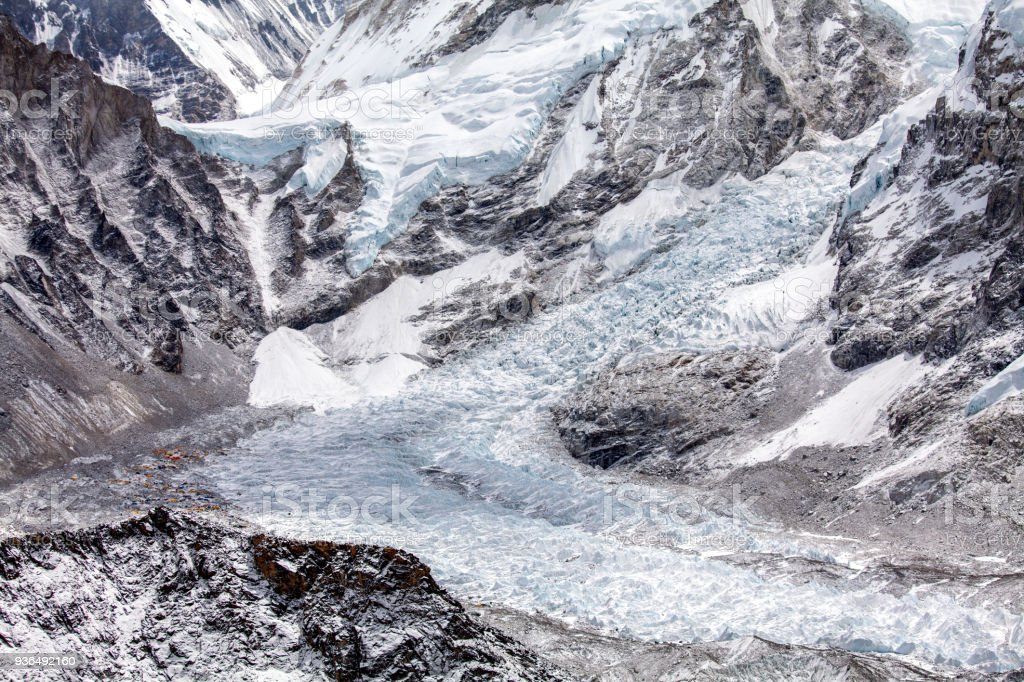 Everest base camp and icefall stock photo