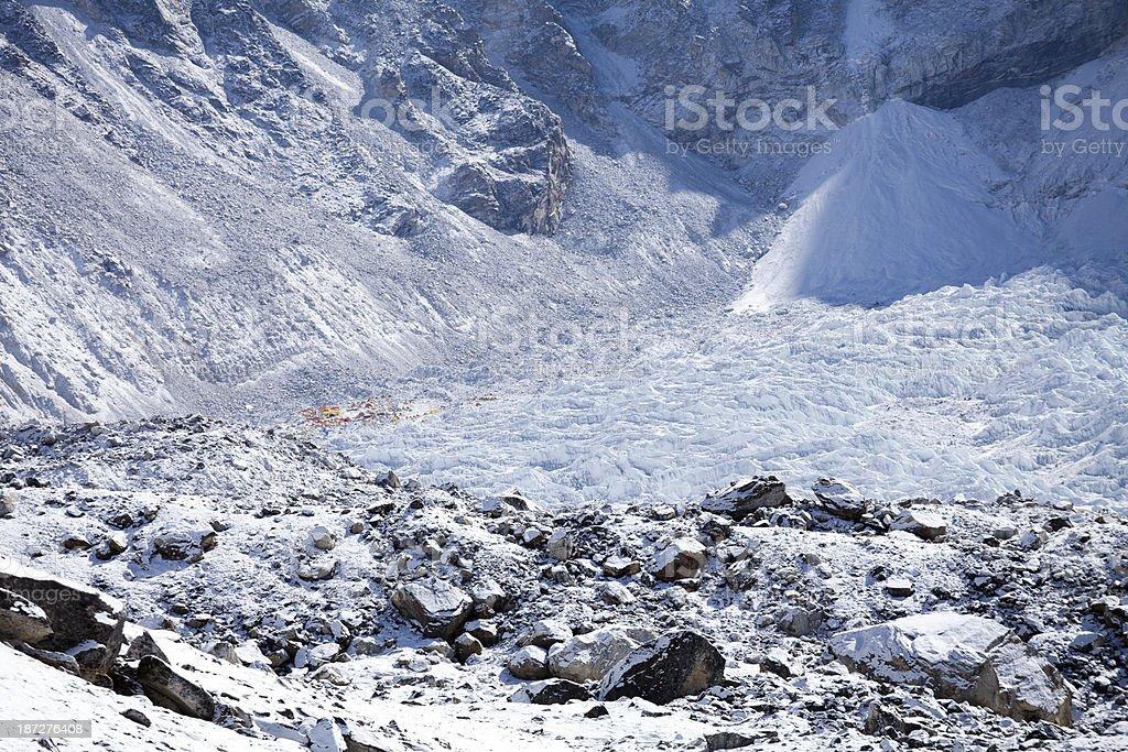 Everest Base camp and Khumbu glacier stock photo