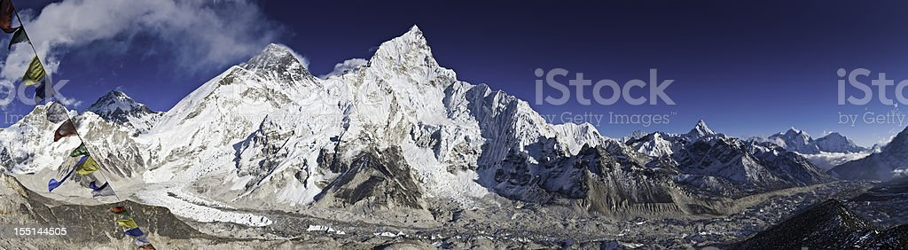 Everest Base Camp Khumbu Glacier prayer flags panorama Himalayas Nepal royalty-free stock photo