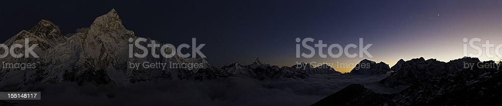 Everest by moonlight Himalayas Nepal stock photo