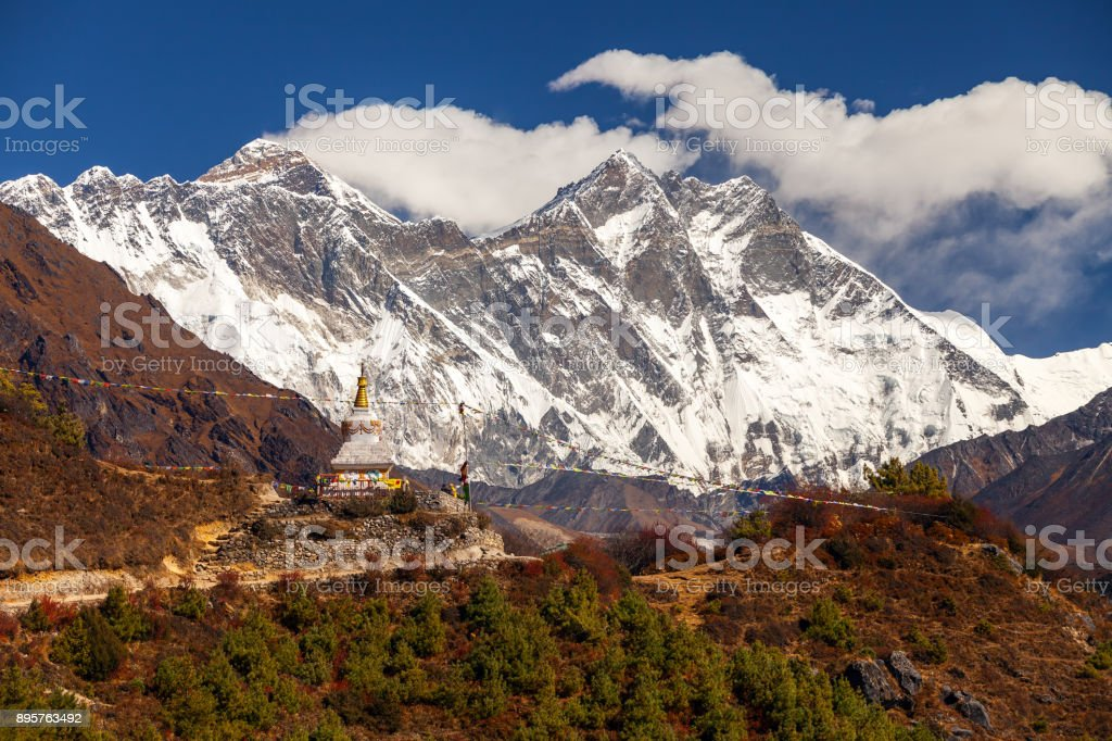 Everest, Himalayas, landscape between way to Everest Base Camp,Nepal.Snow capped mountain top highest in the world stock photo