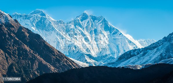 Mt. Everest (8848m), Nuptse (7861m) and Lhotse (8516m) overlooking the historic monastery at Tengboche high in the Khumbu Himalayan mountain wilderness of the Sagarmatha National Park, Nepal.