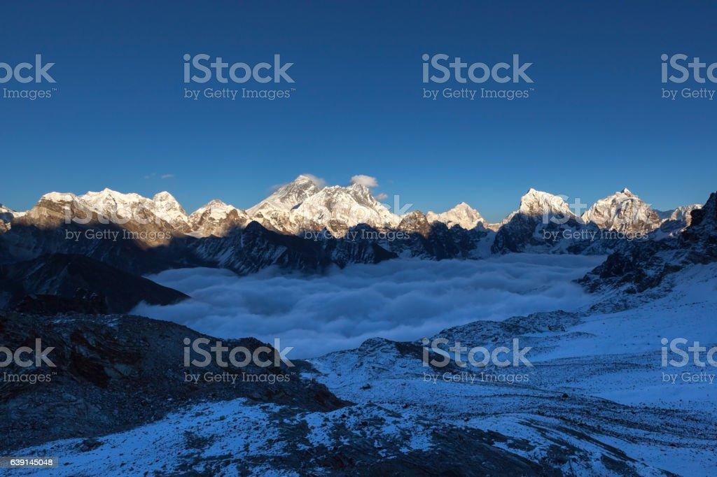 Everest panoramic view from Renjo La pass. stock photo