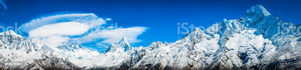 Everest valley Himalaya mountain peaks panorama Lhotse Ama Dablam Thamserku stock photo
