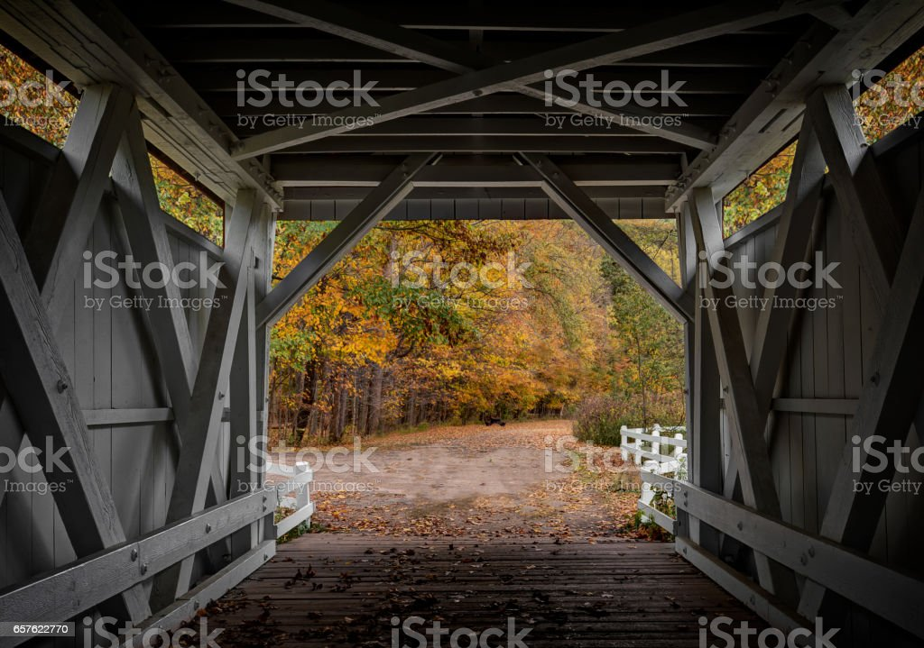 Everett Road Covered Bridge stock photo