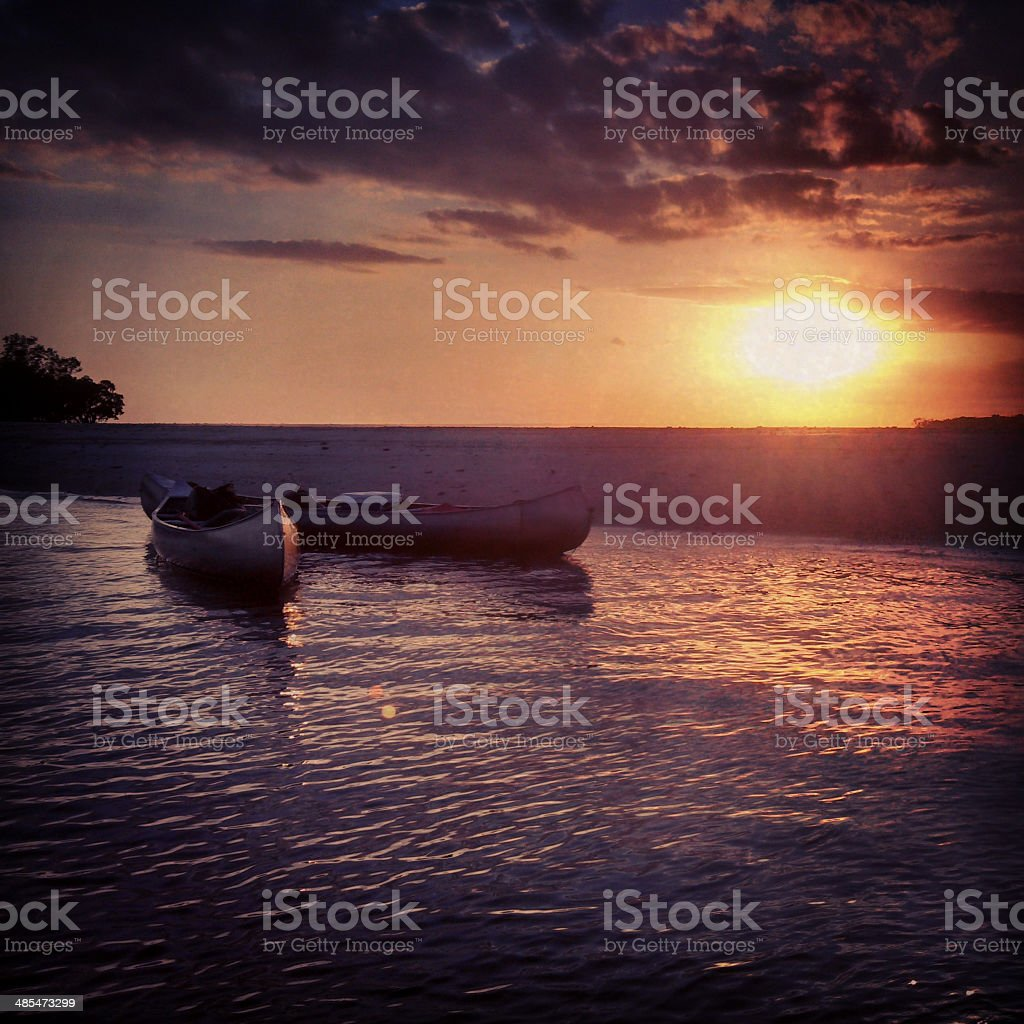 Everglades Canoes at Sunset in Everglades National Park stock photo