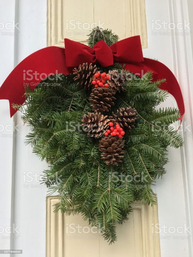 Christmas Swag.Evergreen Christmas Swag Stock Photo Download Image Now