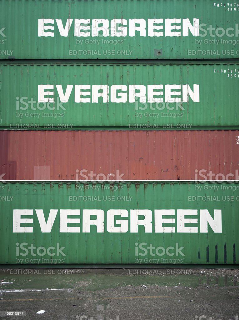 Evergreen containers stock photo