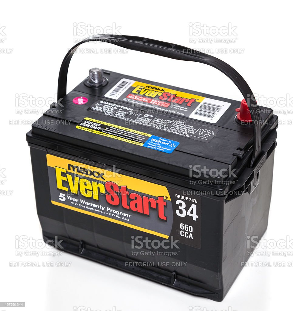 EverStart Maxx Lead Acid Automotive Battery stock photo