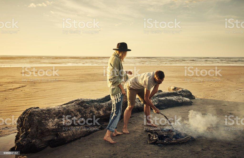 Every campsite needs a campfire stock photo