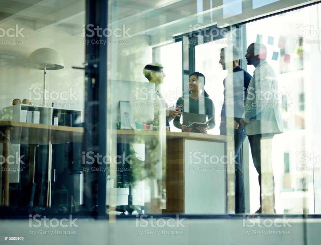 Every collaboration brings them closer to success stock photo