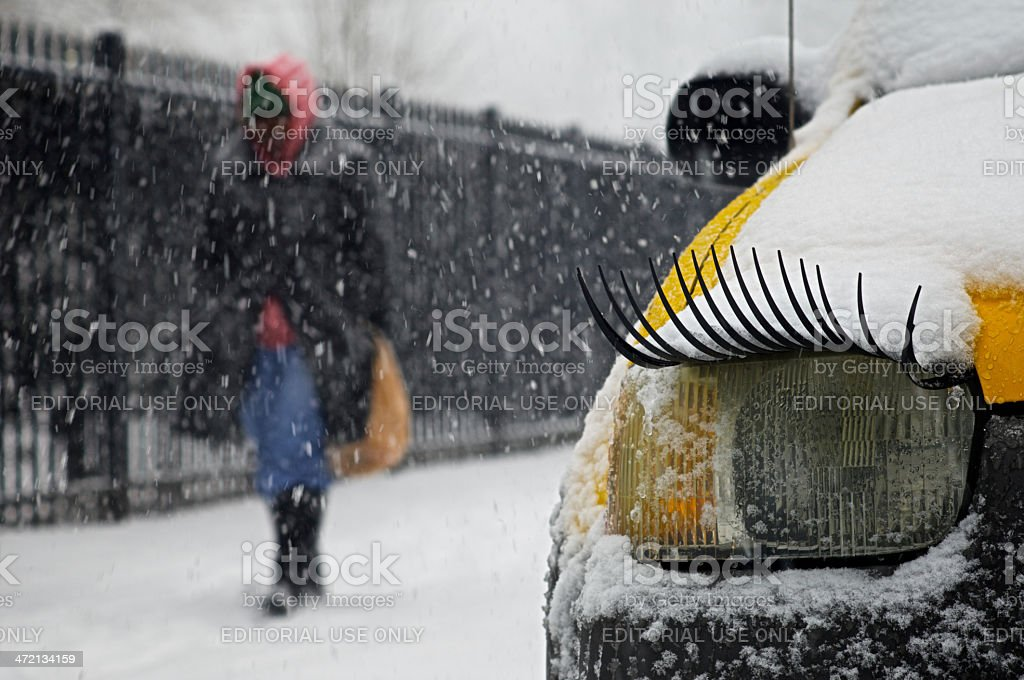 Every day life struggles with winter weather stock photo