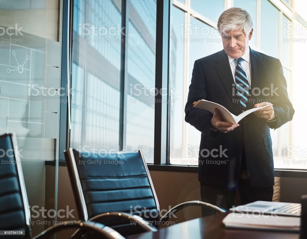 Every document passes through his office stock photo