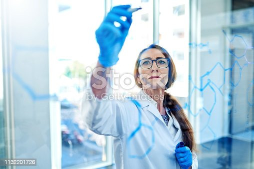 Shot of a mature scientist writing formulas on a glass screen in a laboratory
