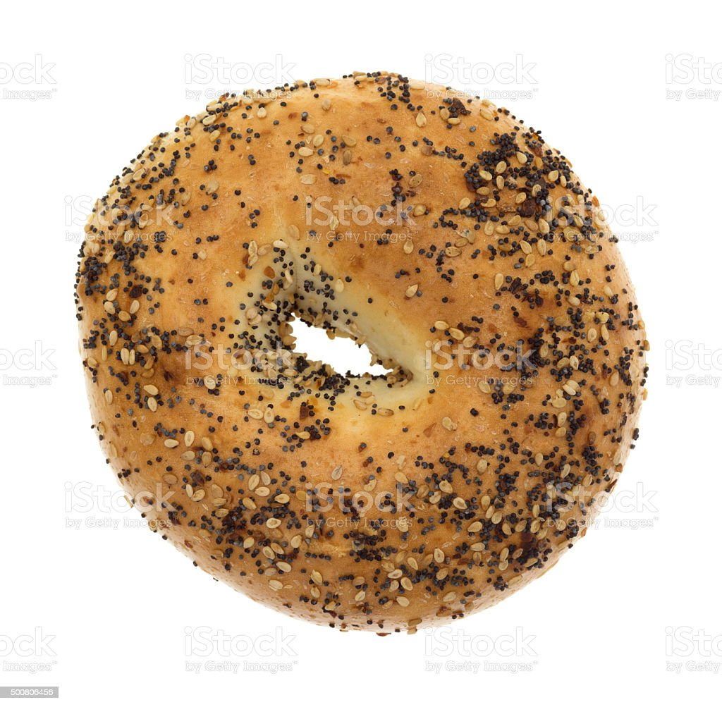 Every seasoning bagel on a white background stock photo