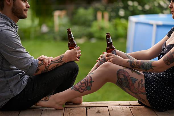 every tattoo has a story - freundin tattoos stock-fotos und bilder